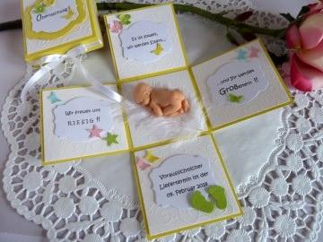 Schwangerschaft / Schwangerschaftsanzeige / Schwangerschaftsbekanntgabe / Explosionsbox  - Handarbeit kaufen