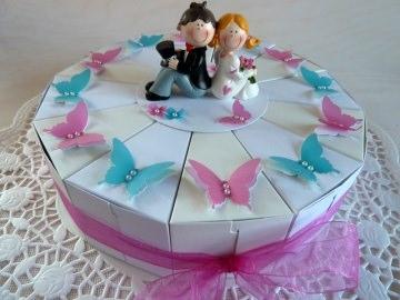 Hochzeitstorte/Schachteltorte in weiß/perlweiß *von IdeenOase* - Handarbeit kaufen