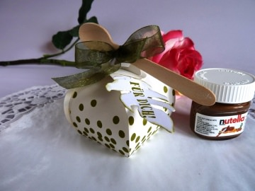 Mini-Nougatcreme-Gläschen in kleiner Zierschachtel mit Löffelchen *von IdeenOase* - Handarbeit kaufen