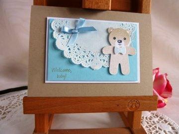 Karte zur Geburt/Taufe für einen Jungen in hellblau mit Spitzendeckchen von *IdeenOase* - Handarbeit kaufen