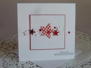 Weihnachtskarte mit Sternen in weiß / rot und geprägtem Hintergrund - Handarbeit kaufen