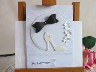 Glückwunschkarte zur Hochzeit in weiß/creme und schwarz *von IdeenOase*