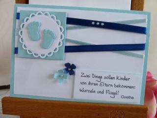 Karte zur Geburt/Taufe für einen Jungen in hellblau mit schönem Spruch *von IdeenOase* - Handarbeit kaufen