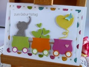 Glückwunschkarte zum Geburtstag, für Mädchen und Jungs mit Elefant, Luftballon, Herzen und Loren *von IdeenOase*