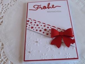 Weihnachtskarte in weiß/rot - Handarbeit kaufen