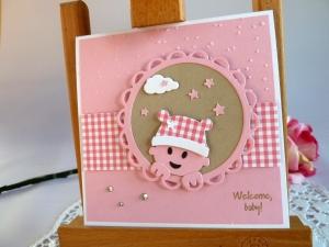 Karte zur Geburt/Taufe in rosa/weiß für ein Mädchen *von IdeenOase* - Handarbeit kaufen