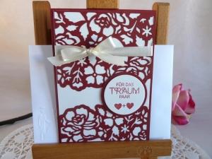 Glückwunschkarte zur Hochzeit in creme/weinrot *von IdeenOase* - Handarbeit kaufen