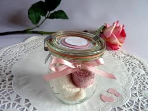 Babysöckchen / Erstlingssöckchen in  rosa/weiß im Glas *von IdeenOase* - Handarbeit kaufen