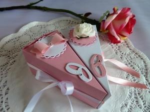 2 Tortenstücke in rose/weiß für Geldgeschenk/Gastgeschenk zur Hochzeit *von IdeenOase* - Handarbeit kaufen