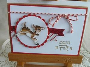 Weihnachtskarte in rot/weiß mit einem Rehlein - Handarbeit kaufen