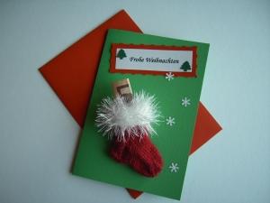Weihnachtskarte / Geldgeschenk / Söckchenkarte tannengrün - Handarbeit kaufen