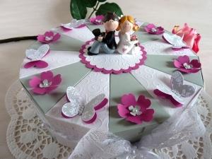 ♥Große Schachteltorte zur Hochzeit/Geldgeschenk in grau/weiß/pink♥ *von IdeenOase* - Handarbeit kaufen
