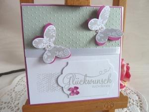 Hochzeitskarte quadatisch in hellgrau/weiß/pink mit Schmetterlingen *von IdeenOase*