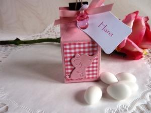 Gastgeschenk/Tischkarte/Milchtüte zurTaufe für ein Mädchen *von IdeenOase* - Handarbeit kaufen