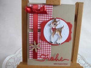 Weihnachtskarte mit Rehkitz und Holzelement