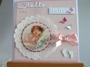 Glückwunschkarte zur Geburt/Taufe für ein Mädchen - Handarbeit kaufen