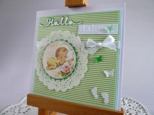 Glückwunschkarte zur Geburt/Taufe in grün/weiß - Handarbeit kaufen