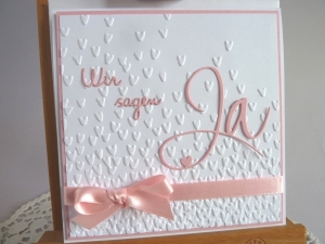 Einladungskarte zur Hochzeit in weiß/rosa - Handarbeit kaufen