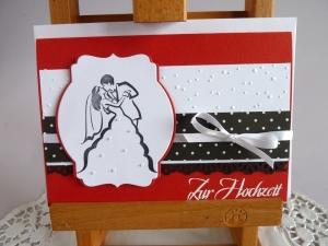 Hochzeitskarte in rot/schwarz/weiß *von IdeenOase*