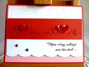 Karte zum Valentinstag/Liebeskarte mit Herzschlagkurve *von IdeenOase+ - Handarbeit kaufen