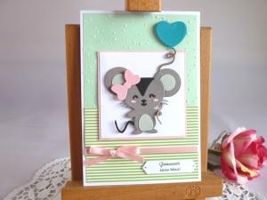 Geburtstagskarte Maus für ein Mädchen *von IdeenOase*   - Handarbeit kaufen