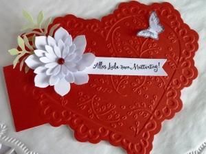 Karte zum Muttertag/Liebeskarte in Herzform *von IdeenOase*