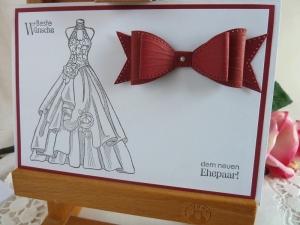 Hochzeitskarte in weiß/weinrot - Handarbeit kaufen