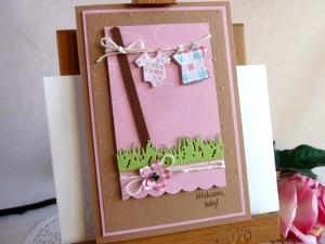 Karte, Klappkarte zur Geburt/Taufe für ein Mädchen in rosa und hellbraun - Handarbeit kaufen