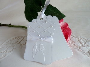 Geschenkanhänger / Tag / für die Hochzeit, perlenreich