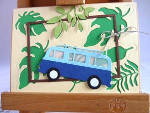 Karte, Glückwunschkarte, Grußkarte mit einem bekannten Bus aus früheren Zeiten - Handarbeit kaufen