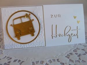 Edle Hochzeitskarte in weiß und Gold mit Kultauto - Handarbeit kaufen