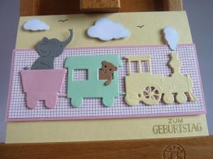 Glückwunschkarte zum Geburtstag, Geburtstagskarte mit Eisenbahn, Elefant und Teddy