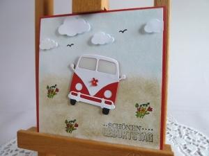 Karte, Glückwunschkarte zum Geburtstag, Grußkarte mit Oldtimer, Kultauto - Handarbeit kaufen