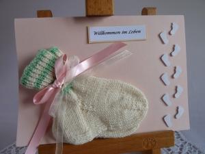 Glückwunschkarte/Geldgeschenkkarte zur Geburt/Taufe mit Söckchen für ein Mädchen - Handarbeit kaufen