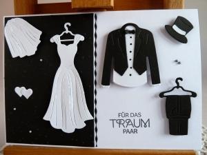 Glückwunschkarte zur Hochzeit in schwarz/weiß