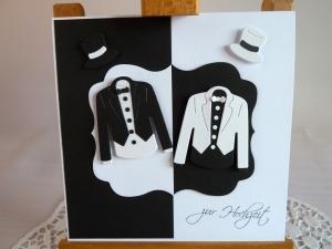 Edle Hochzeitskarte in schwarz/weiß/Männerhochzeit/quadratisch/Weddings/ - Handarbeit kaufen