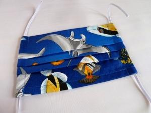 Behelfsmaske, Gesichtsmaske, Mund-Nase-Maske, wiederverwendbar, waschbar, mit Nasenbügel, Motiv Unterwasserwelt - Handarbeit kaufen