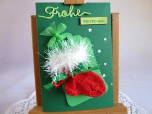 Weihnachtskarte / Geldgeschenk / Söckchenkarte, Geldgeschenkkarte, Söckchenkarte in tannengrün - Handarbeit kaufen