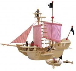Piratenschiff mit viel Zubehör aus Holz