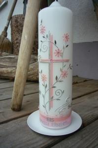 Taufkerze rosa für Mädchen