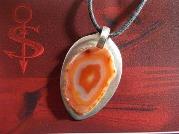 Besteckschmuck einzigartiger Anhänger ♥ Achat orange braun bernsteinfarben
