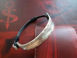 Besteckschmuck Armband Armreif mit schwarzem Leder ♥ Inka Halb und Halb