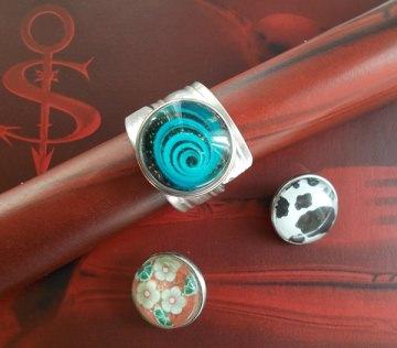 Besteckschmuck Ring 01 ♥ Ring Set 4 teilig Größe 54 / 55 Druckknopf Cabochon switch push button - Handarbeit kaufen