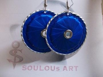 Ohrhänger ♥ Lamelle blau Öse Nespresso - Kapsel Schmuck upcycling - Handarbeit kaufen