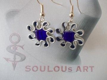 Ohrhänger ♥ Blüte Glas Quarree blau Nespresso - Kapsel Schmuck upcycling - Handarbeit kaufen