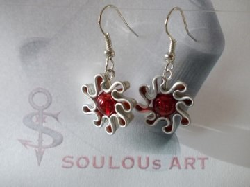 Ohrhänger ♥ Blüte Glas Perle rot Nespresso - Kapsel Schmuck upcycling - Handarbeit kaufen