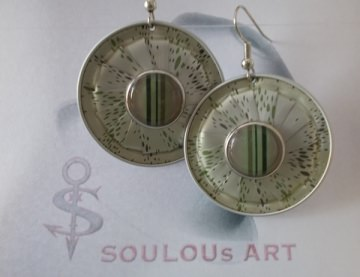 Ohrhänger ♥ Button Stripes grün silber Nespresso - Kapsel Schmuck upcycling - Handarbeit kaufen