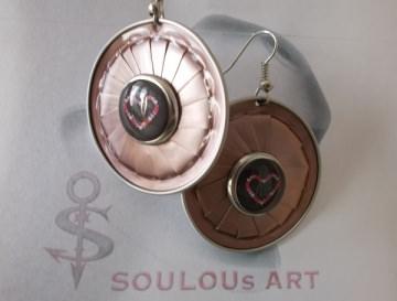 Ohrhänger ♥ Button Heart rosa schwarz silber Nespresso - Kapsel Schmuck upcycling - Handarbeit kaufen