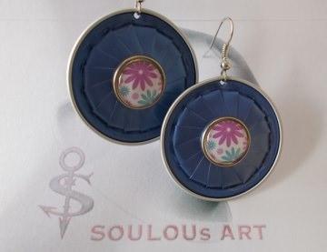 Ohrhänger ♥ Button Flower hellblau rosa weiß silber Nespresso - Kapsel Schmuck upcycling - Handarbeit kaufen