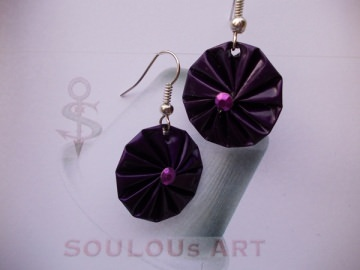 Ohrhänger ♥ Rosette violett lila silber Nespresso - Kapsel Schmuck upcycling